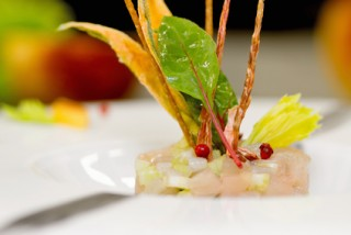 tartar with amberjack, celery and food garnish